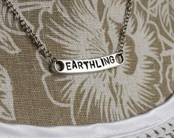 Earthling - Handgestempelte chain / / Handstamped necklace