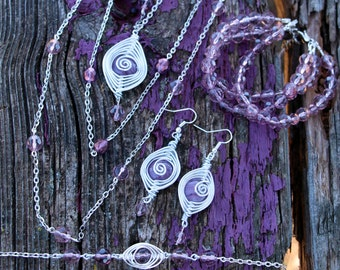 Handmade Purple Glass Bead Herringbone Style Jewelry Set