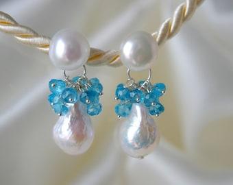 Currently folding beads Topaz pearls Baroque pearls earrings wrinkle pearl topaz freshwater pearl earrings