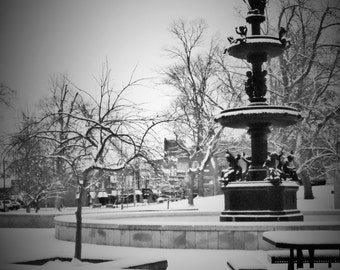 Henderson KY Water Fountain in the Park B/W