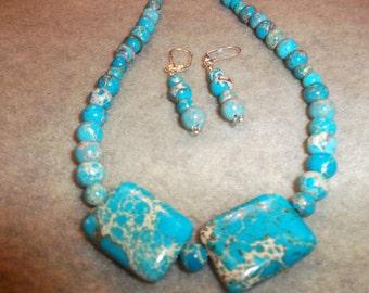 Exquisite! Handcrafted Blue Impression Jasper Jewelry Sets