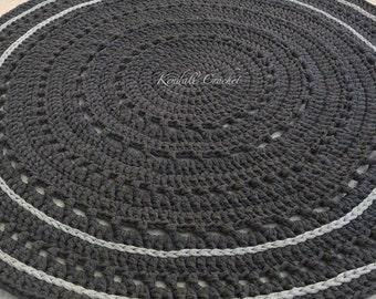 Crocheted Doily Rug Tshirt Yarn 100cm