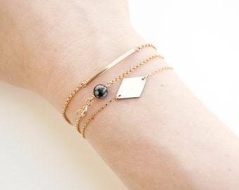 Minimal Bracelet, Gold Bar Bracelet, Friendship Bracelet, Simple Gold Bracelet, Stacking Bracelet, Bridesmaid Gift, Customizable || THE ARCH