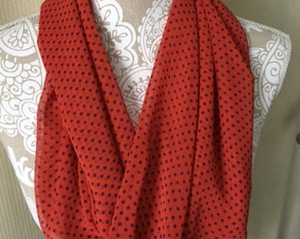 Twisted Infinity scarf - tomato red with navy polka dots