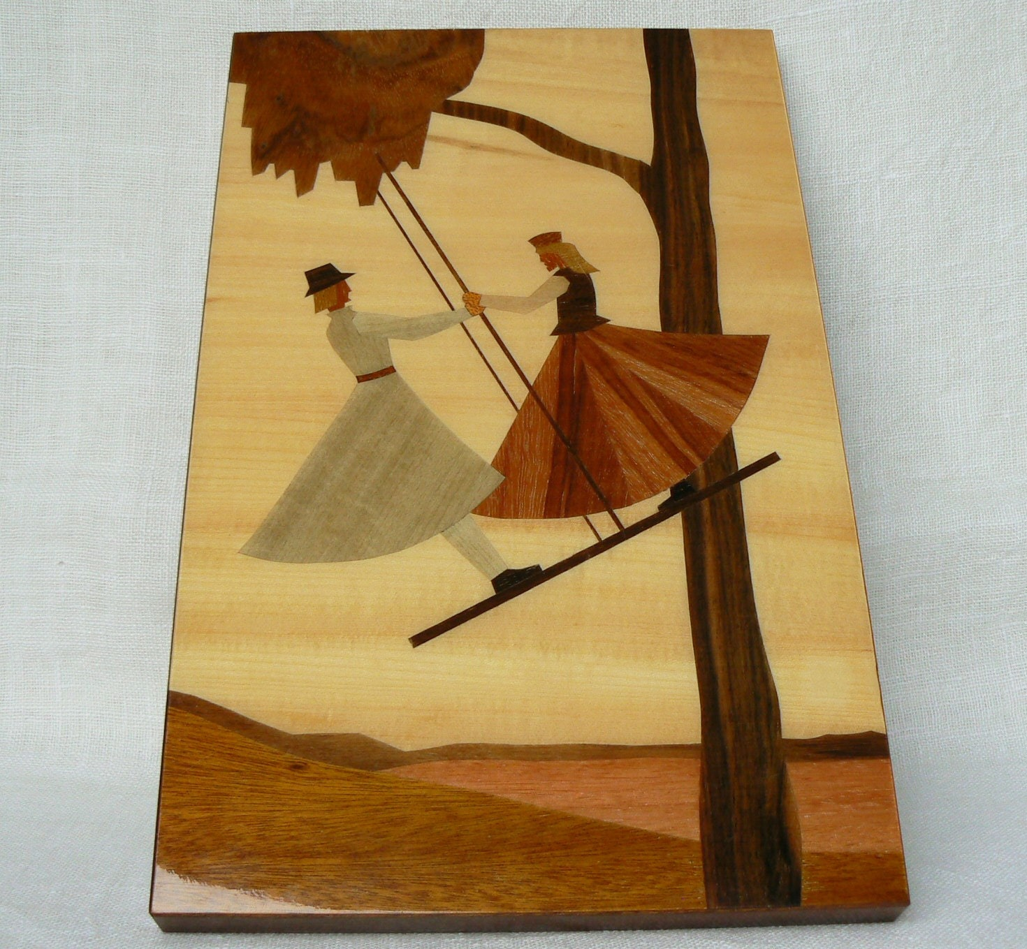 Wood Inlay Wall Decor : Vintage wooden wall decor art picture inlay