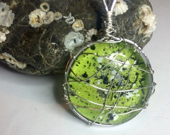 Handpainted  wire wrapped glass pendants
