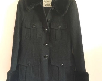MOSCHINO Cheap and chic vintage wool and faux fur coat jacket