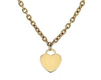 3.32mm 14K Yellow Gold Bullet Chain with 14K Yellow Gold Heart Pendant