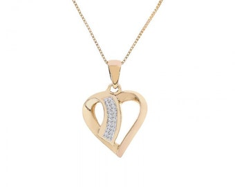 0.20 Carat Round Cut Diamond Heart Pendant Necklace 14K/10K Yellow Gold