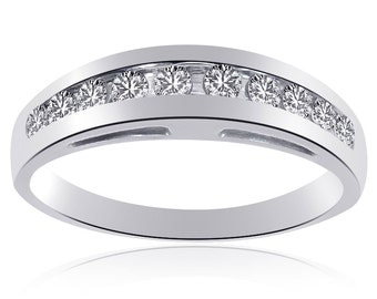 0.45 Carat Womens Round Cut Diamond Wedding Band 14K White Gold