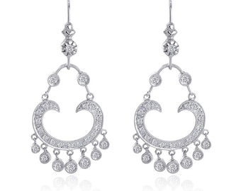0.60 Carat Antique Style Chandelier Diamond Earrings 14K White Gold