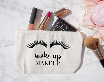 Canvas Make Up Bag Pencil Case Zipper Zipped Zip Wake Up Make Up