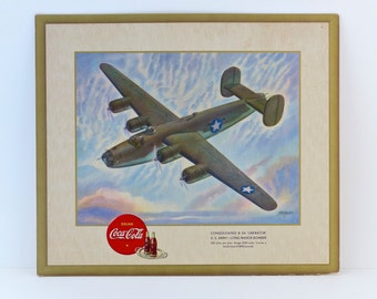 Reserved for Zach - Coca-Cola Advertising - World War II Aircraft Illustration - ca 1943 - Vintage WWII Collectible in a Litho Presentation