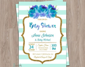 Mint baby shower invitation, mint and gold baby shower, boy baby shower invitations, gender neutral baby shower invitation, baby boy shower