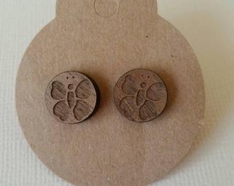 Handmade wooden butterfly stud earrings 12mm