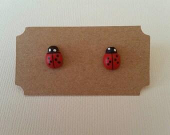 Childrens lady beetle/bug wooden stud earrings