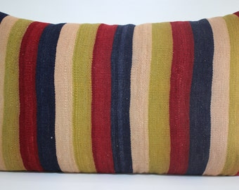 "20x32 Striped Kilim Pillow Cover 20""x32"" - 50x80cm King Size Lumbar Kilim Pillow Handwoven Kilim Pillow Multicolor Kilim Pillow Cover SP5080"