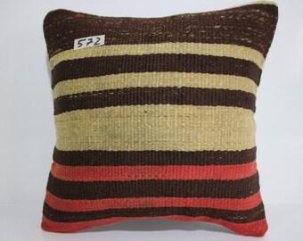 decorative kilim pillow 16x16 Turkish pillow black plaid pillow striped pillow vintage kilim pillow cover kilim cushion cover P4040-572