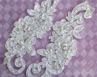 Vintage bridal appliqués ,Pearls , Sequins