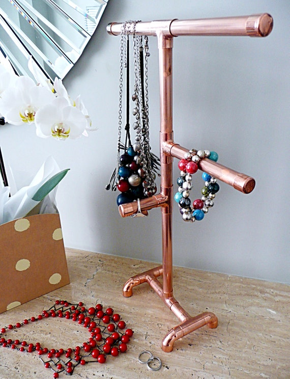 Jewellery stand copper pipe industrial necklace holder for Copper pipe jewelry stand