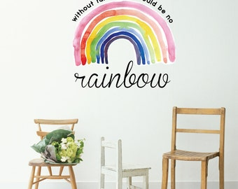 Without Rain There Would Be No Rainbow Wall Decal | Positivity Inspirational Quotes Words Living Room Decal | Removable Vinyl Wall Sticker