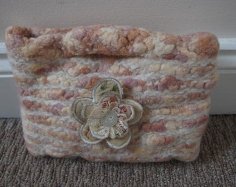 Beautiful Hand Knitted Felted Wool White and Pink Clutch Bag with Flower Detail