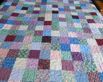 King / Queen Sized Quilt, Patchwork Quilt, Purple Quilt, Blue Old Fashioned Quilt, Bed Blanket, Ready to Ship