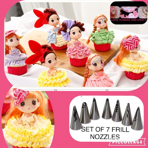 Cake Decorating Flat Icing : Piping tips frill piping nozzle set 7 tip by ...