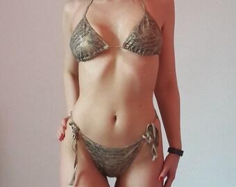 FOLLIES Paris Reptilia Print Awesome Sexy Bikini