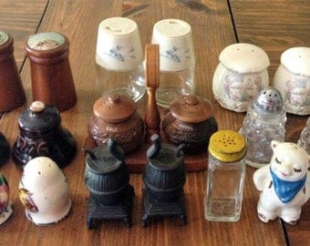 Vintage Salt & Pepper Shaker Lot AS IS. Precious Moments,Primitive, Bell, Shawnee Pig Hobnail, Milkglass, teakwood, peppermill, stove, gemco