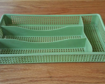 Vintage Avocado Green Utensil Divider Drawer Organizer