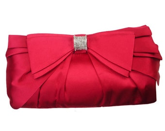 Double Bow-knot Satin Clutch