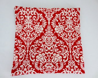 """Pillow Slip Cover for 16"""" Throw/Toss/Cushion Red & White Damask"""