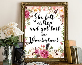 Alice In Wonderland Wall Art alice in wonderland wall art let's runaway to wonderland