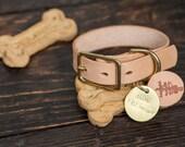 "3/4"" Leather Dog Collar Custom Made Vegetable Tanned Leather Dog Collar Custom Stamped Dog tag Nametag Brass Dogtag Made to order Dog Collar"
