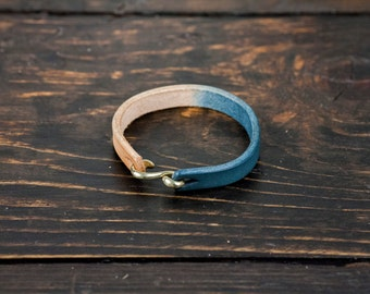 Indigo Dipped Vegetable Tanned Leather Cuff with Solid Brass or Nickel Plated 'S' Clasp