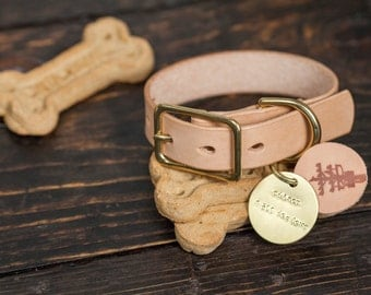 "3/4"" Natural Vegetable Tanned Leather Dog Collar with Solid Brass Hardware - Custom Made to Order"