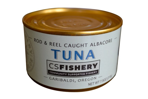 2 Cans with Olive Oil & Sea Salt- Canned Oregon Albacore Tuna - 7.5oz per Can - Local Rod and Reel Caught Fish, Healthy Sustainable Seafood