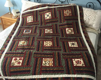 Garden Fences, flowers, burgundy, navy blue, green, rust, throw size, quilt, blanket, wall hanging, 12 patches, white boarder, handmade