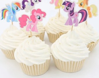 12pcs My Little Pony Cupcake Topper Picks. Food picks Party Supplies