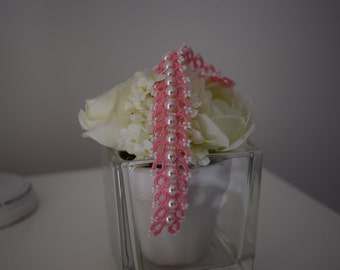 Bracelet pink white lace with rocailles Miyuki, pink pearls