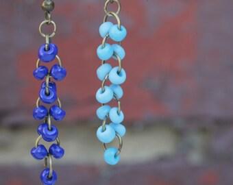 Long chain style seed beads dangle earrings (Deep blue, Sky blue)