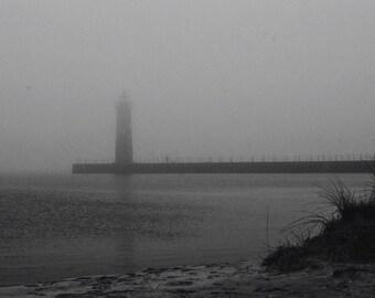 Foggy Beach and Pier - black and white - 5 x 7 print