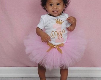 Pink and Gold Tutu, Tutu Set, Pink Tutu, Gold Glitter Crown, 1st Birthday Bodysuit, One with Crown ,Personalized Birthday Shirt