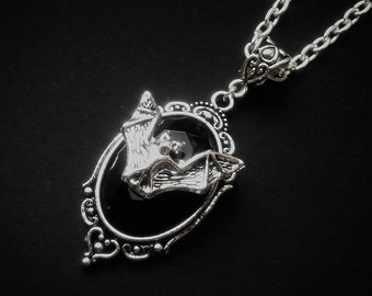 Silver Bat Cameo Necklace