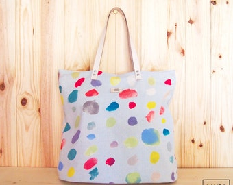 leather handle bag / print watercolor / nani Iro pattern / tote bag - leather handle /