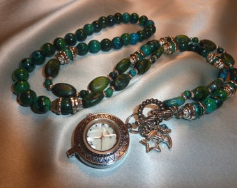 Temps en Temps - Turquoise and Silver Watch Necklace