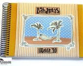 Photo-Album beach motif, Album holiday pictures, sticker-album, stripes yellow white, handmade travel photoalbum spiral bound, kultspecht,