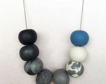 Monochrome Ombré with Denim Polymer Clay Necklace
