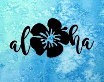 Aloha Hibiscus Sticker ~ Hawaii Sticker ~ Hibiscus Sticker ~ Hawaii Decal ~ Aloha Flower Decal